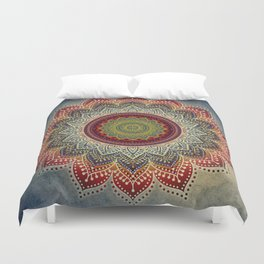 Retro Folk Art - Spirit Lotus Mandala Blue Red Duvet Cover