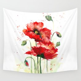 Watercolor flowers of aquarelle poppies Wall Tapestry