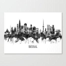 Seoul South Korea Skyline BW Canvas Print