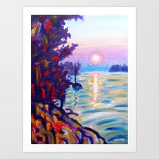 Gold Island Sunset  Art Print