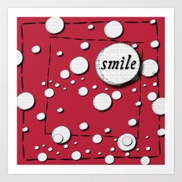 Red Smile Floating Circles Art Print