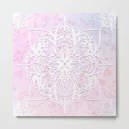 Candyfloss Marble Mandala Metal Print