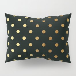 Gold polka dots on black pattern Pillow Sham