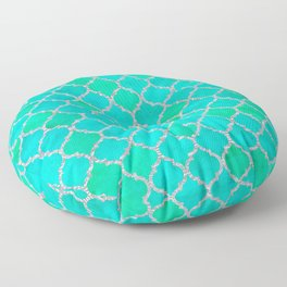 Mermaid's Wall (Dreamy Blues & Greens with Silver accent) Floor Pillow