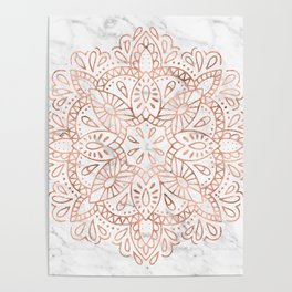 Rose Gold Mandala on Marble Poster
