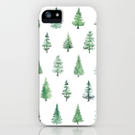 Watercolor abstract pine trees iPhone Case