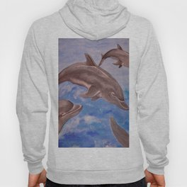 A Pod of Playful Jumping Dolphins Hoody