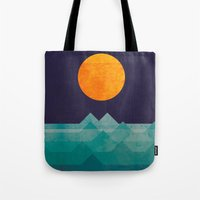 night Tote Bags featuring The ocean, the sea, the wave - night scene by Picomodi