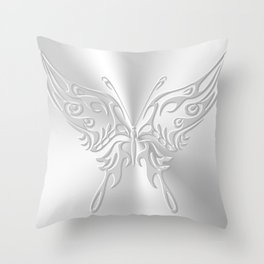 Ornate round-tailed butterfly in silver with embossed effect Throw Pillow