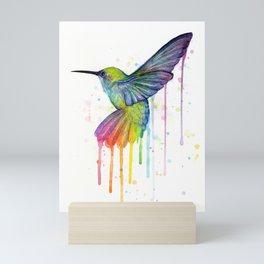 Hummingbird Rainbow Watercolor Mini Art Print