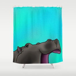 Happy Hippo with Blue Backing Shower Curtain