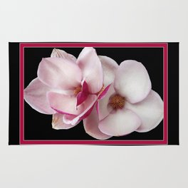 tulip magnolia twins (black bg) Rug