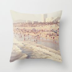 Sunny California. Santa Monica beach photograph Throw Pillow