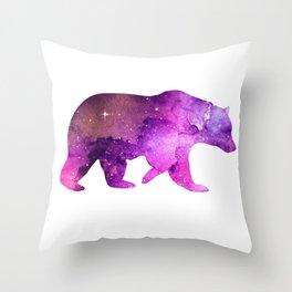 Galaxy Watercolor Bear Pink Throw Pillow