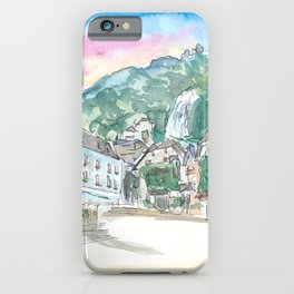 Hallstatt Romantic Market Place with Mountain and Waterfall Sound iPhone Case