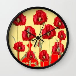 RED POPPIES ON CREAM ART NOUVEAU DESIGN Wall Clock