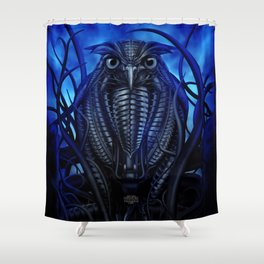 Mechanical Owl - Blue Shower Curtain