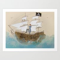 pirate Art Prints featuring Pirate by Polina Kovaleva