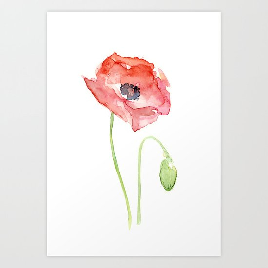 Red Poppy Watercolor Flower Floral Abstract Art Print