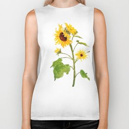 One sunflower watercolor arts Biker Tank