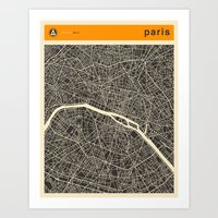 paris map Art Prints featuring Paris Map by Jazzberry Blue