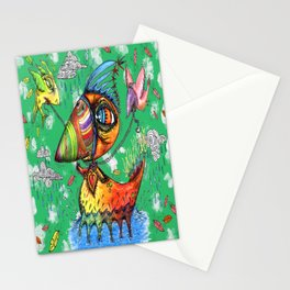 He always was an odd duck! green background Stationery Cards