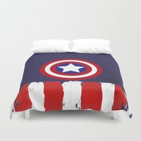 "steve rogers Duvet Covers featuring Captain ""Steve Rogers"" America by Some_Designs"