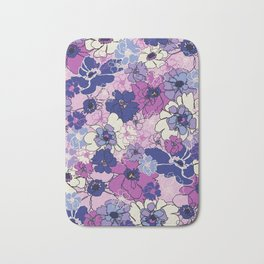 Red Violet and Navy Anemones Bath Mat