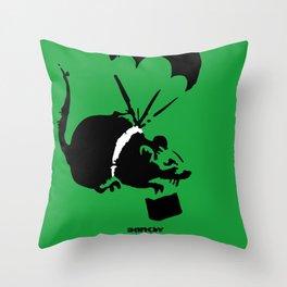 Banksy Parachute Rat Throw Pillow