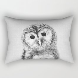 Baby Owl - Black & White Rectangular Pillow