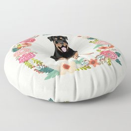 rottweiler floral wreath dog breed pet portrait pure breed dog lovers Floor Pillow
