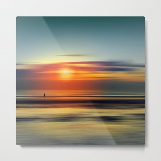 Bright Red - seascape sunset abstract Metal Print