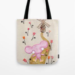 A Mouse With Clogs On, By A Windmill Tote Bag