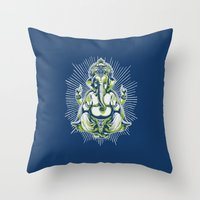 ganesh Throw Pillows featuring Ganesh by Scalifornian
