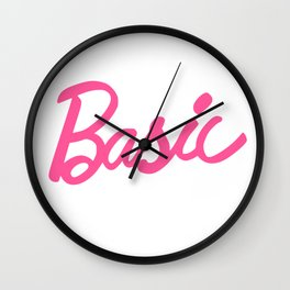 Basic Pink Girlie Doll Typography Wall Clock