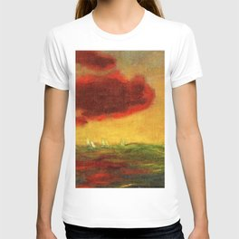 Sailing Yachts on the High Seas at Sunset nautical landscape by Emil Nolde T-shirt