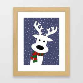 Reindeer in a snowy day (blue) Framed Art Print