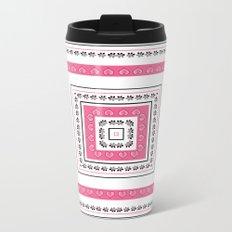 White - pink pattern Metal Travel Mug
