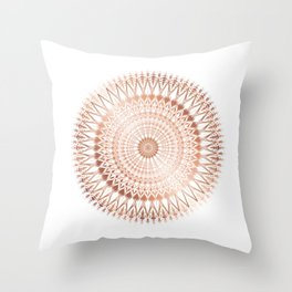 Rose Gold White Mandala Throw Pillow