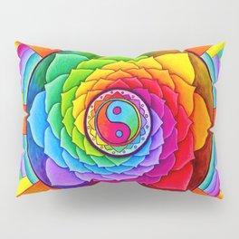 Healing Lotus Rainbow Yin Yang Mandala Pillow Sham