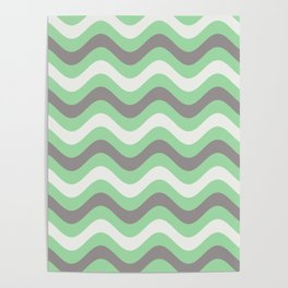 Pastel Green, Gray & Linen White Stripes Wavy Stripes Pairs to 2020 Color of the Year Neo Mint Poster