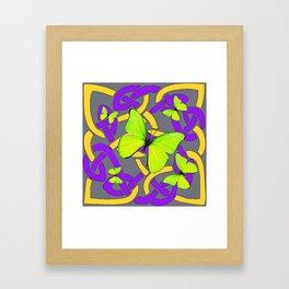 Lime Yellow Butterflies Purple-grey-gold Celtic Art Framed Art Print