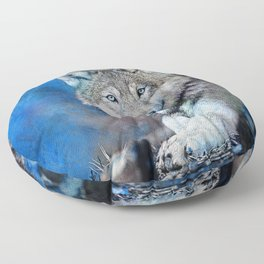 Blue Wolf Wildlife Mixed Media Art Floor Pillow