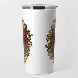 Hairless Black Sphynx Cat in a Gold Baroque Frame Surrounded by Red Roses - Tattoo Style Animal Line Illustration Travel Mug