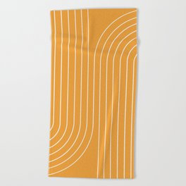 Minimal Line Curvature - Golden Yellow Beach Towel