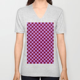 Lavender Violet and Burgundy Red Checkerboard Unisex V-Neck