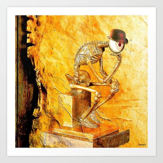 """""""Le penseur """" par Monsieur Bone  Art Print"""