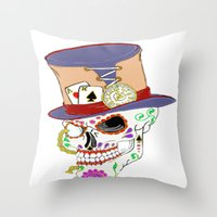 steam punk Throw Pillows featuring Steam Punk Sugar Skull by J&C Creations