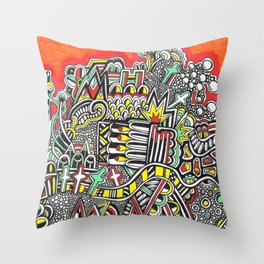 Orange and Green Zendoodle Throw Pillow