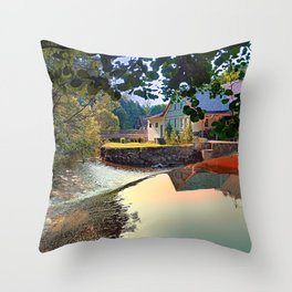 Nature, a river and colorful reflections | waterscape photography Throw Pillow
